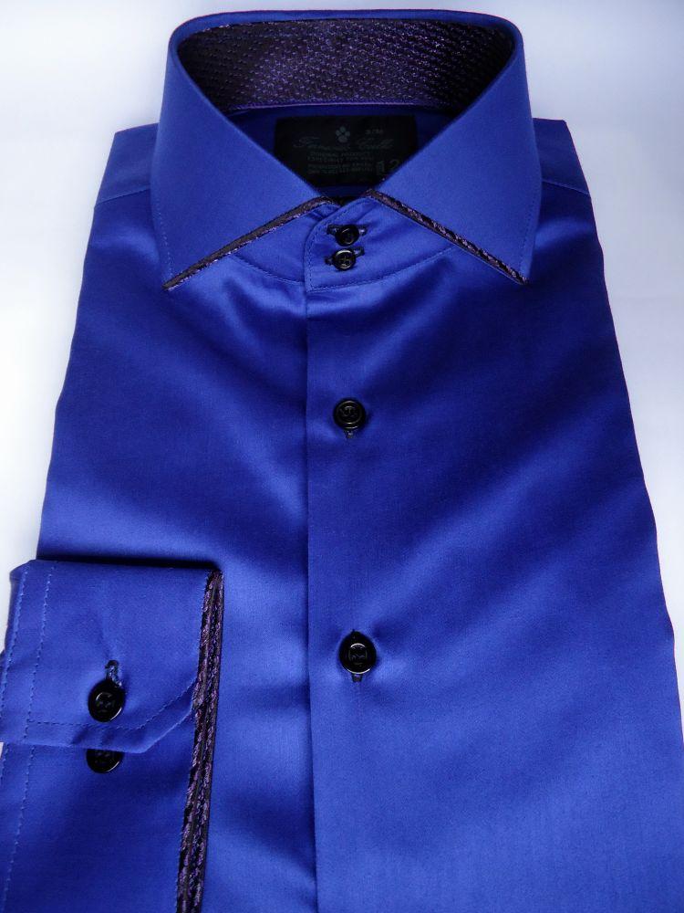 Camisa Social Slim Azul Royal Lisa Algodão Fio 80 Egipcio