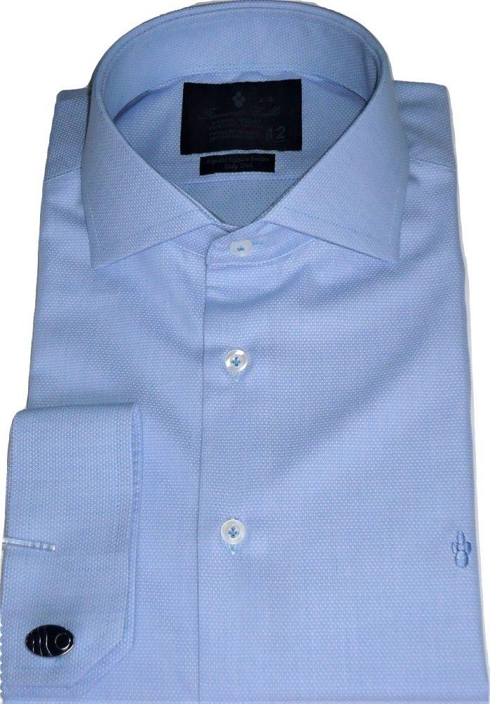 Camisa Masculina Abotoadura Azul Claro Maquinetada Algodão Egípcio Fio 80