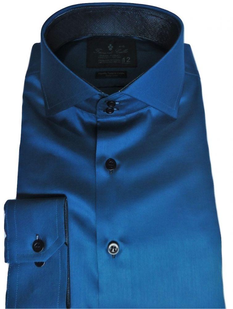 Camisa Social Sport Azul Petróleo Lisa gola dupla Algodão Fio 100 Egipcio