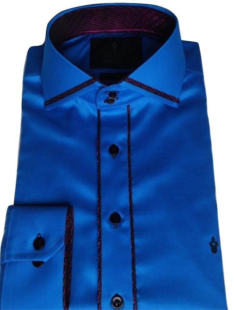 Camisa Social Sport Azul Aço Algodão Fio 80 Egipcio