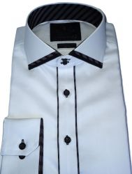 Camisa Social Branca Sport Lisa Algodão Fio 80 Egípcio