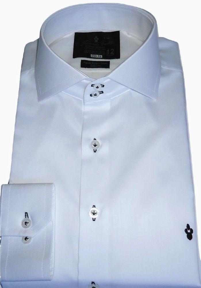 Camisa Social Sport Branca Lisa Gola Italiana Algodão Egípcio Fio 80
