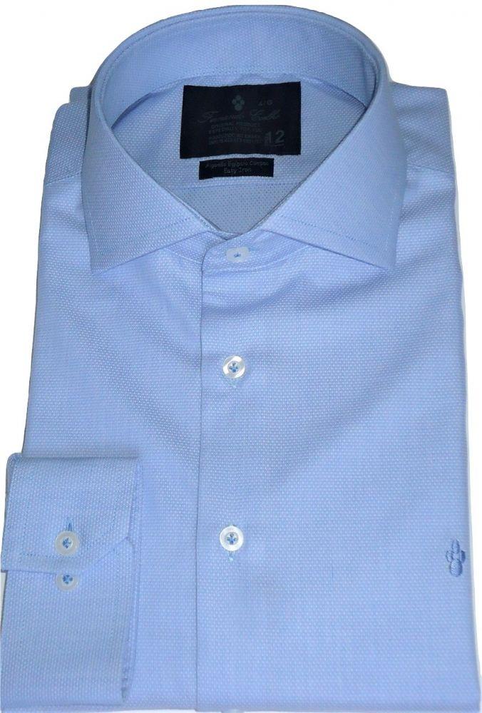 Camisa Social Azul Claro Maquinetada gola dupla Algodão Fio 80 Egipcio