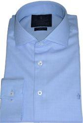 Camisa Social Azul Claro Maquinetada gola dupla Algodão Fio 80 Egípcio