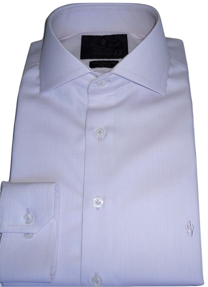 Camisa Social Lilás Gola Italiana Maquinetada Algodão Fio Egipcio