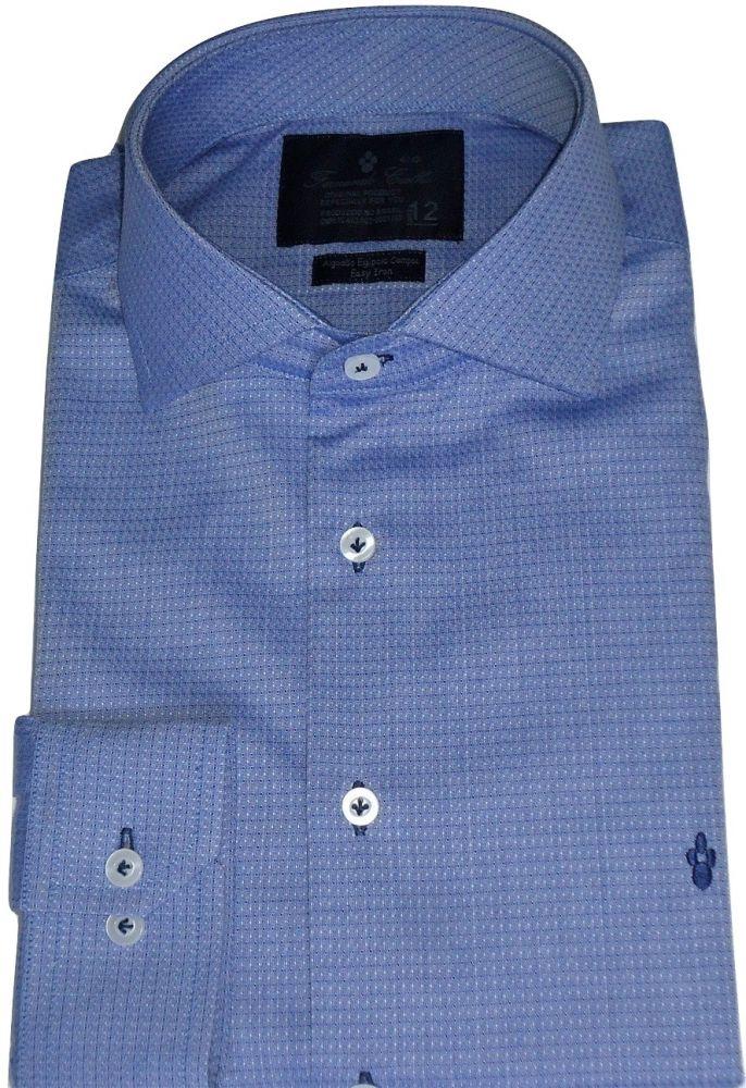 Camisa Social Azul Maquinetada gola dupla Algodão Fio 80 Egipcio