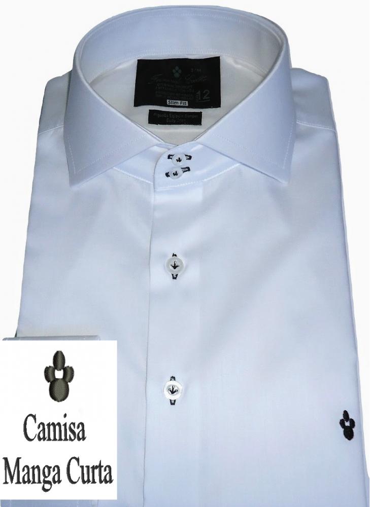 Camisa Social Manga Curta Sport Branca Lisa Algodão Fio 100 Egipcio