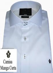 Camisa Social Manga Curta Sport Branca Lisa Algodão Fio 80 Egípcio