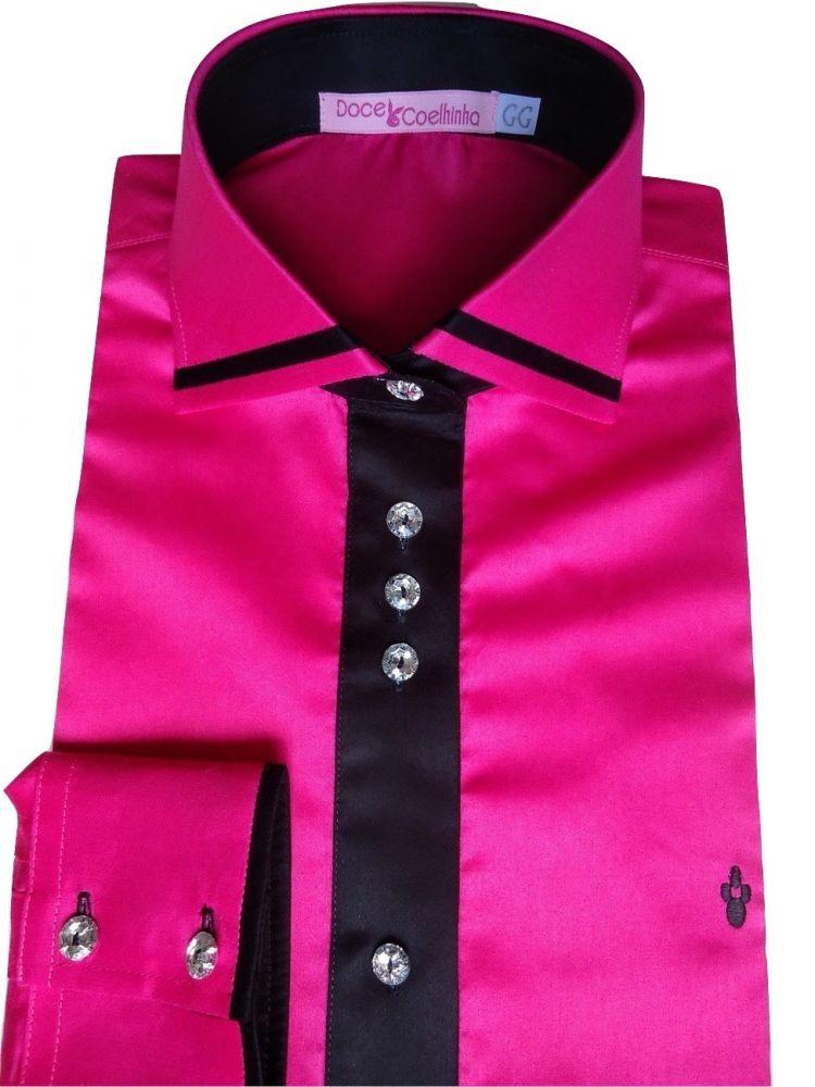 Camisa Feminina Rosa Pink Lisa Gola Dupla Algodão Fio 100 Egipcio