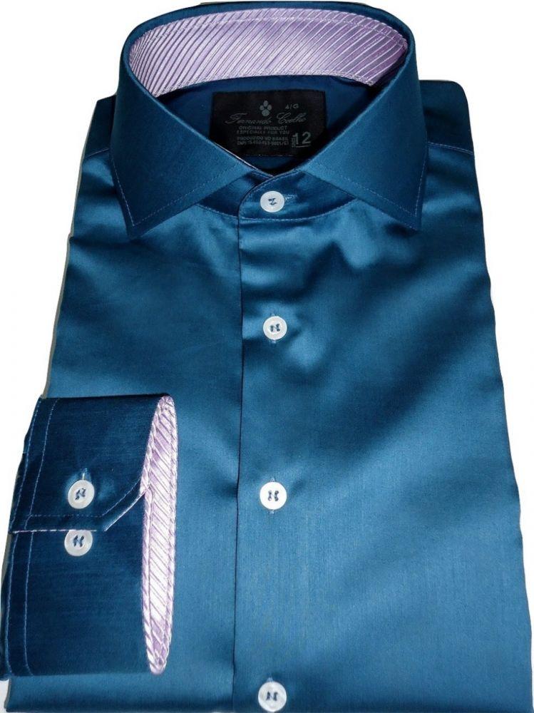 Camisa Social  Azul Petróleo Lisa gola dupla Algodão Fio 100 Egipcio