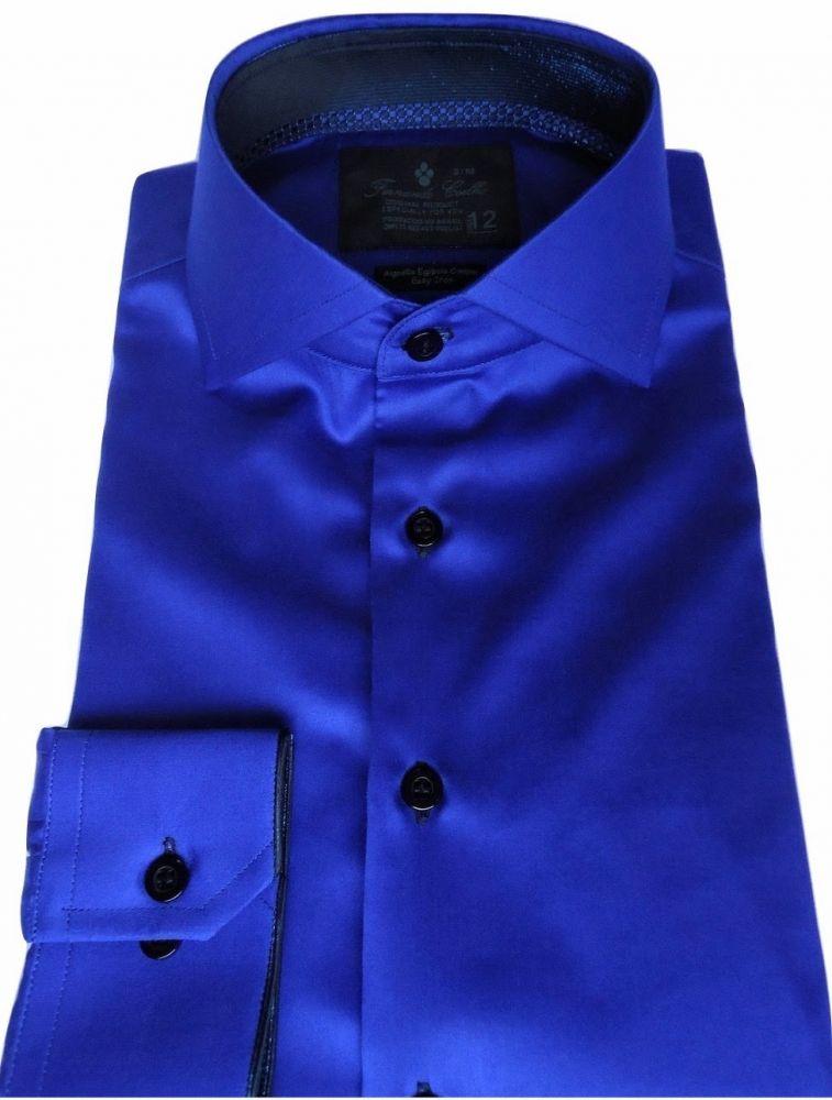 Camisa Social Sport  Azul Royal Lisa gola dupla Algodão Fio 80 Egípcio
