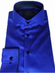 Camisa Social Azul Royal Lisa Gola Dupla Italiana Algodão Fio 80 Egípcio