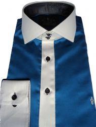 Camisa Social Sport Azul Petróleo Lisa Algodão Fio 100 Egípcio