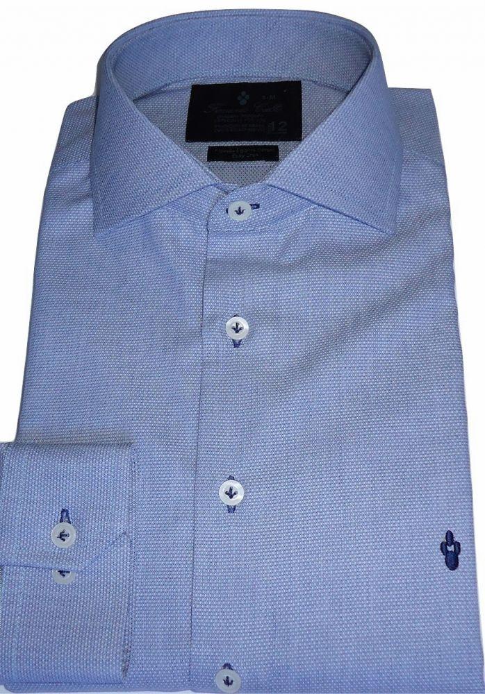 Camisa Azul Céu Colarinho ItalianoMaquinetada Algodão Fio 80 Egípcio