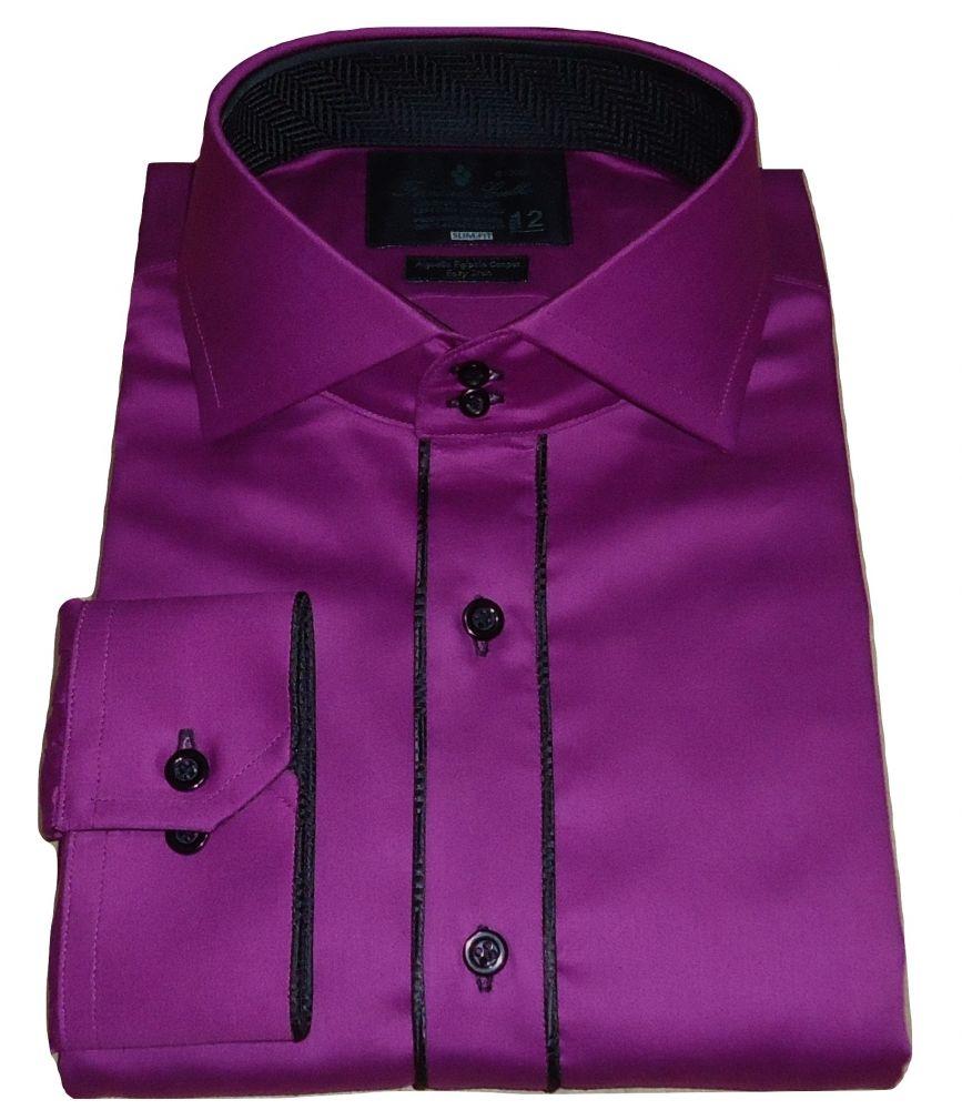 Camisa algodão egípcio Sport Roxa Lisa gola dupla Fio 100