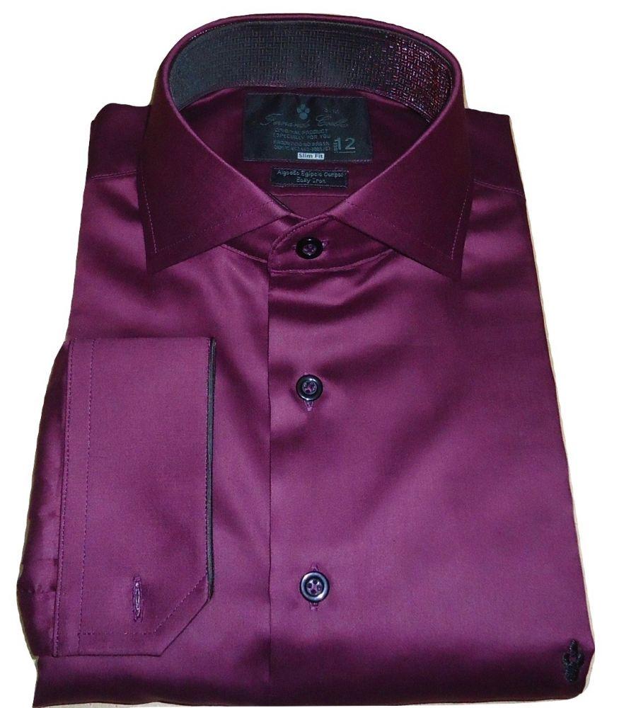 Camisa Masculina de  Abotoadura Vinho Lisa gola Italiana Algodão Egípcio Fio 100