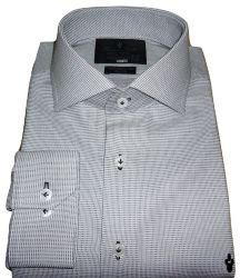 Camisa Social Cinza Claro Maquinetada Algodão Fio 80 Egípcio