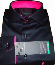 Camisa Social Preta com Rosa  Sport Lisa gola dupla Algodão Fio 80 Egípcio
