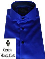 Camisa Manga Curta  Azul Royal Gola Dupla Algodão Fio 80 Egípcio