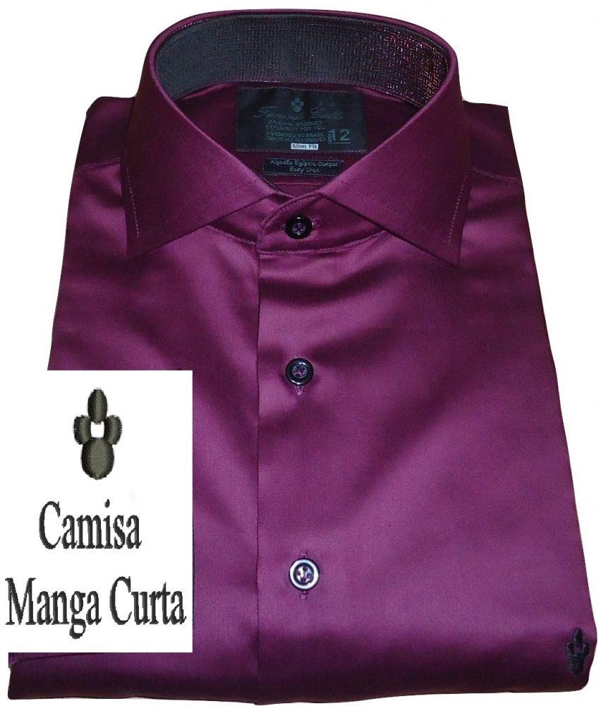 Camisa Social Manga Curta Vinho Lisa Algodão Fio 100 Egípcio