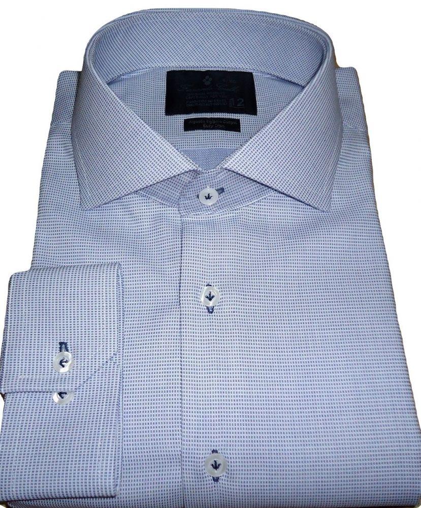 Camisa Social Gola Italiana  Azul Maquinetada Algodão Fio 80 Egipcio