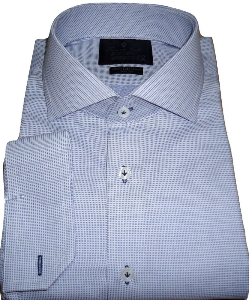 Camisa  Abotoadura Azul Claro Maquinetada Algodão Egípcio Fio 80