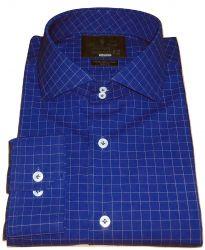 Camisa Xadrez quadriculado Azul Marinho Gola Italiana Dupla Algodão Fio 80 Egípcio
