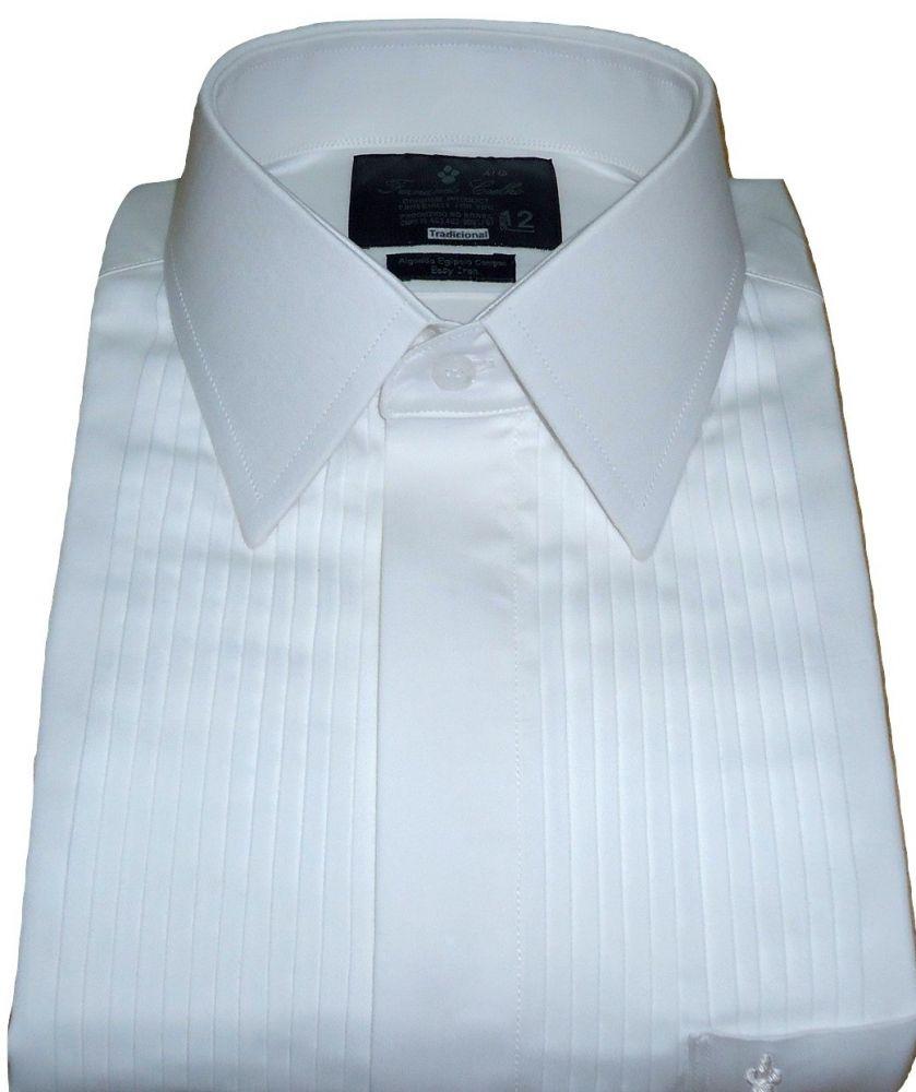 Camisa Smoking Gola Inglesa com Abotoadura Branca Lisa Algodão Fio 80 Egipcio