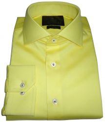 Camisa Social Amarela Lisa Gola Dupla Italiana Fio 80 Egípcio