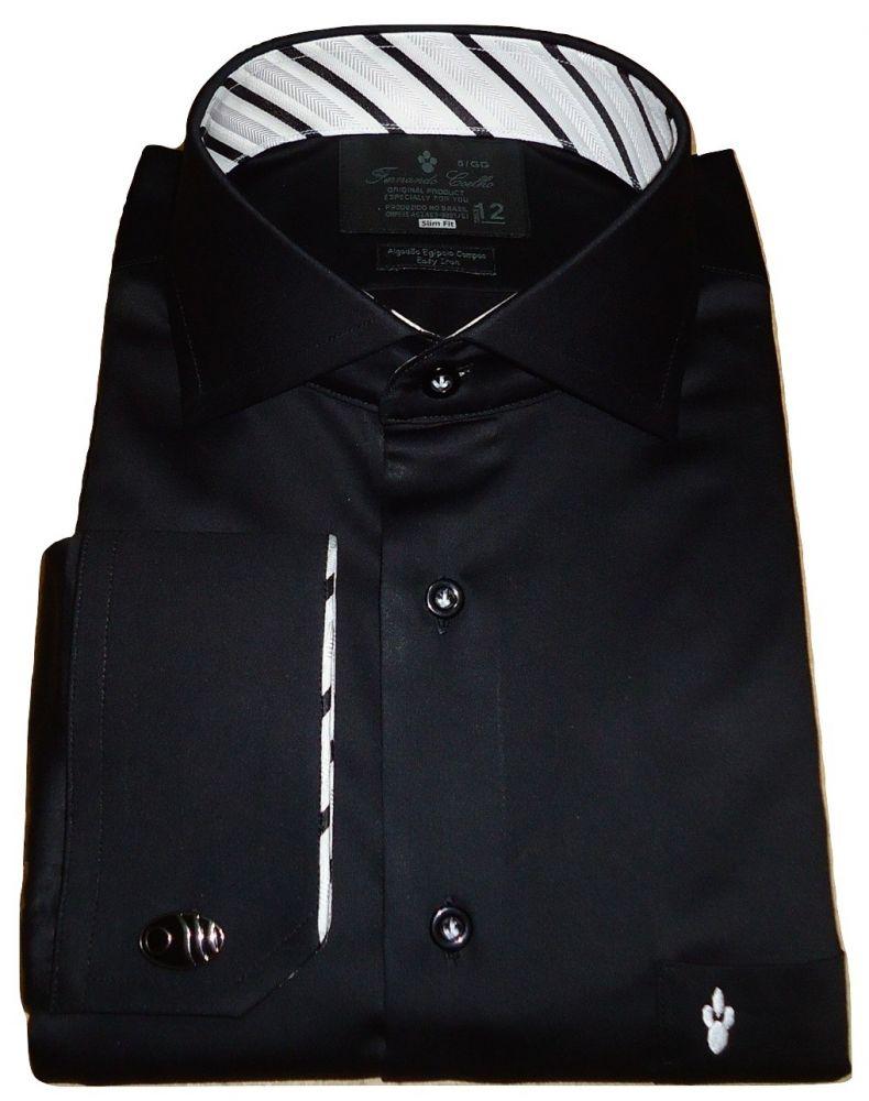 Camisa abotoadura Preta Lisa gola Italiana Algodão Fio 80 Egípcio