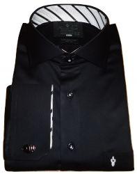Camisa para abotoadura Preta Lisa gola Italiana Algodão Fio 80 Egípcio