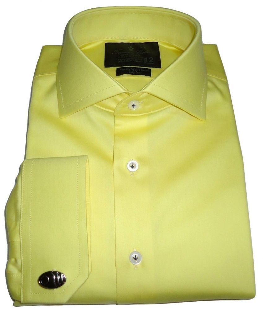 Camisa Para Abotoadura Social Amarela Lisa Gola Dupla Italiana Fio 80 Egípcio