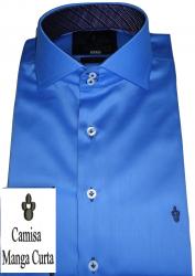 Camisa Social Manga Curta Azul Turquesa Gola Dupla Algodão Fio 100 Egipcio
