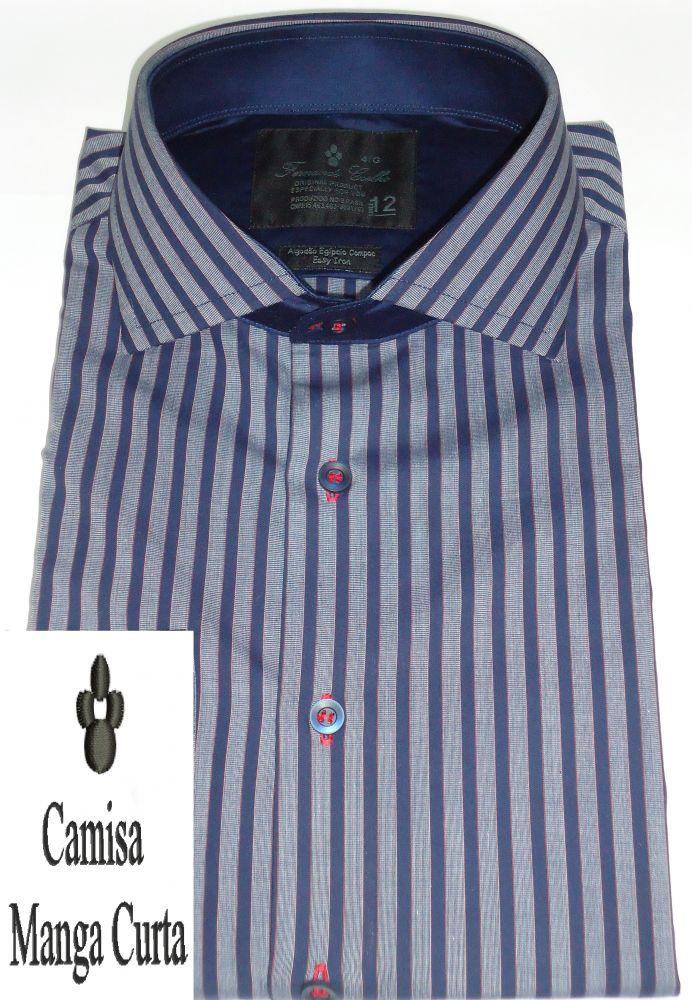 Camisa Manga Curta Listrada Azul Marinho Gola Dupla Italiana Fio 80 Egípcio