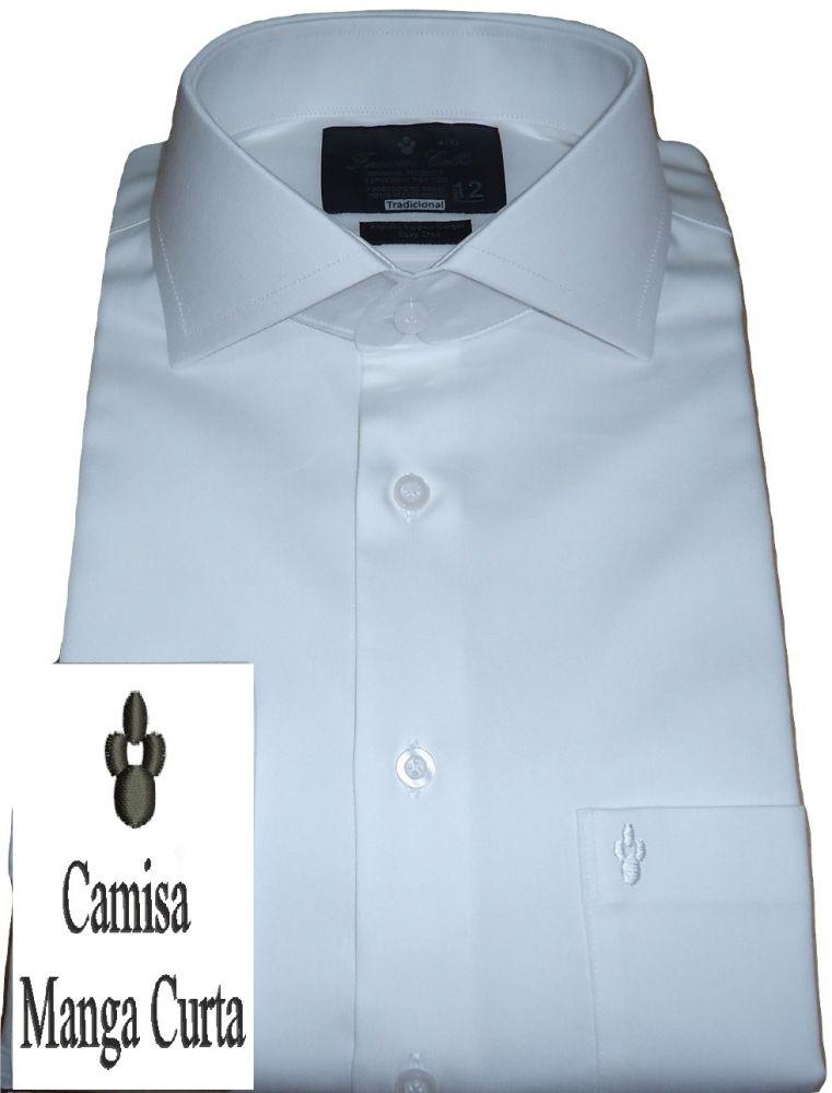 Camisa Social Manga Curta Branca Lisa Gola Dupla Italiana Fio 80 Egípcio