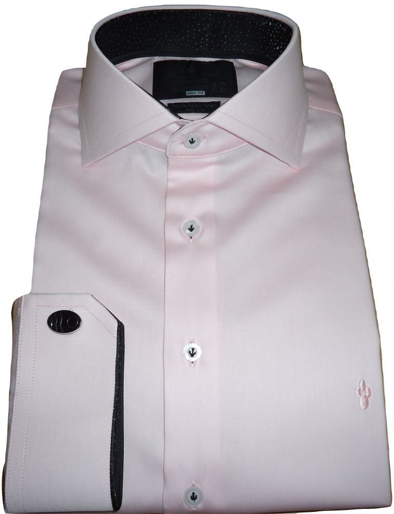 Camisa  Abotoadura Rosa Giz Social Gola Dupla Italiana Fio 80 Egípcio
