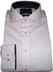 Camisa fio egípcio Rosa Giz Lisa Gola dupla Italiana algodão Egípcio Fio 80