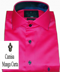 Camisa Manga Curta Rosa Pink Lisa Gola Italiana Algodão Egípcio Fio 80