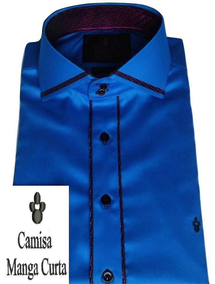 Camisa Manga Curta Sport Azul Aço Lisa Gola Dupla Italiana Fio 80 Egípcio