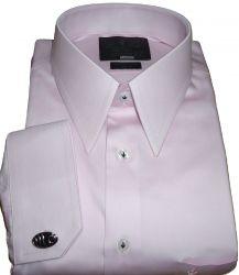 Camisa de Abotoadura Gola Inglesa Clássica Rosa Giz Algodão Egípcio Fio 80