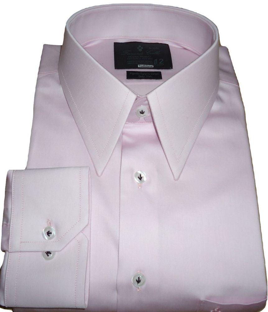 Camisa Social Gola Inglesa Rosa Giz Algodão Fio 80 Egípcio