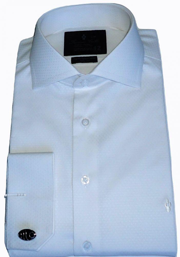 Camisa com Abotoadura Branca Maquinetada Colarinho Italiano Algodão Fio 80 Egípcio
