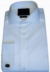Camisa para Abotoadura Branca Maquinetada Colarinho Italiano Algodão Fio 80 Egípcio