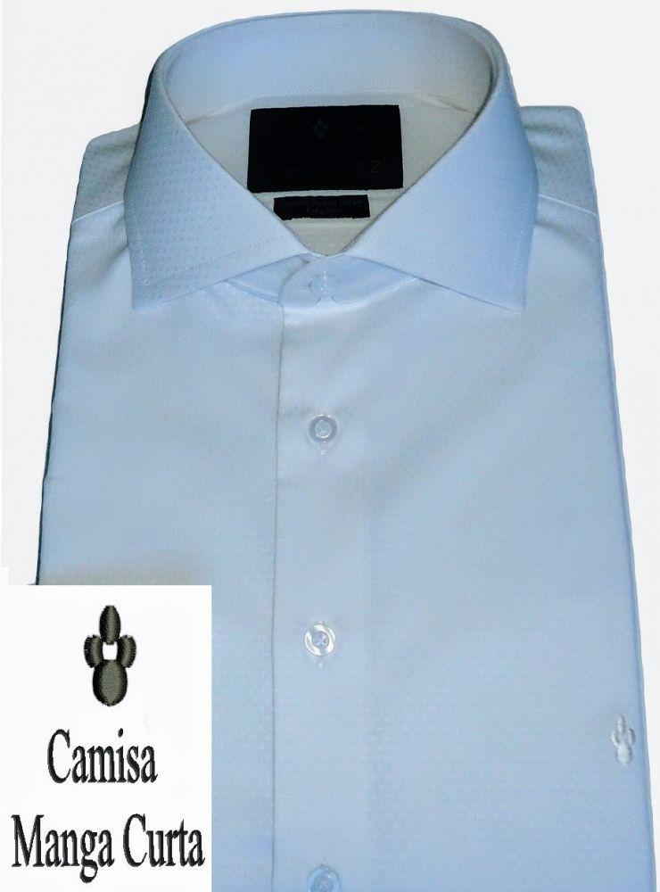 Camisa Manga Curta Branca Maquinetada Gola Dupla Fio 80 Egípcio