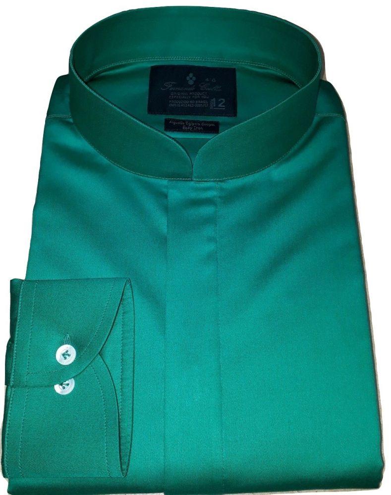 Camisa Gola Padre Social Verde Algodão Egípcio Fio 80