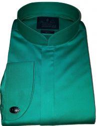 Camisa Abotoadura Gola Padre Verde Lisa Algodão Egípcio Fio 80