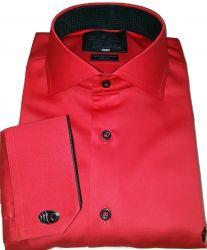 Camisa Social para Abotoadura Vermelha Lisa Gola Dupla Algodão Fio 80 Egípcio