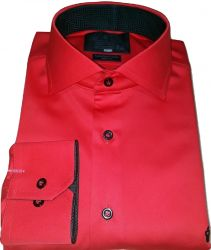 Camisa Social Colarinho Italiano Vermelha Lisa  Algodão Fio 80 Egípcio