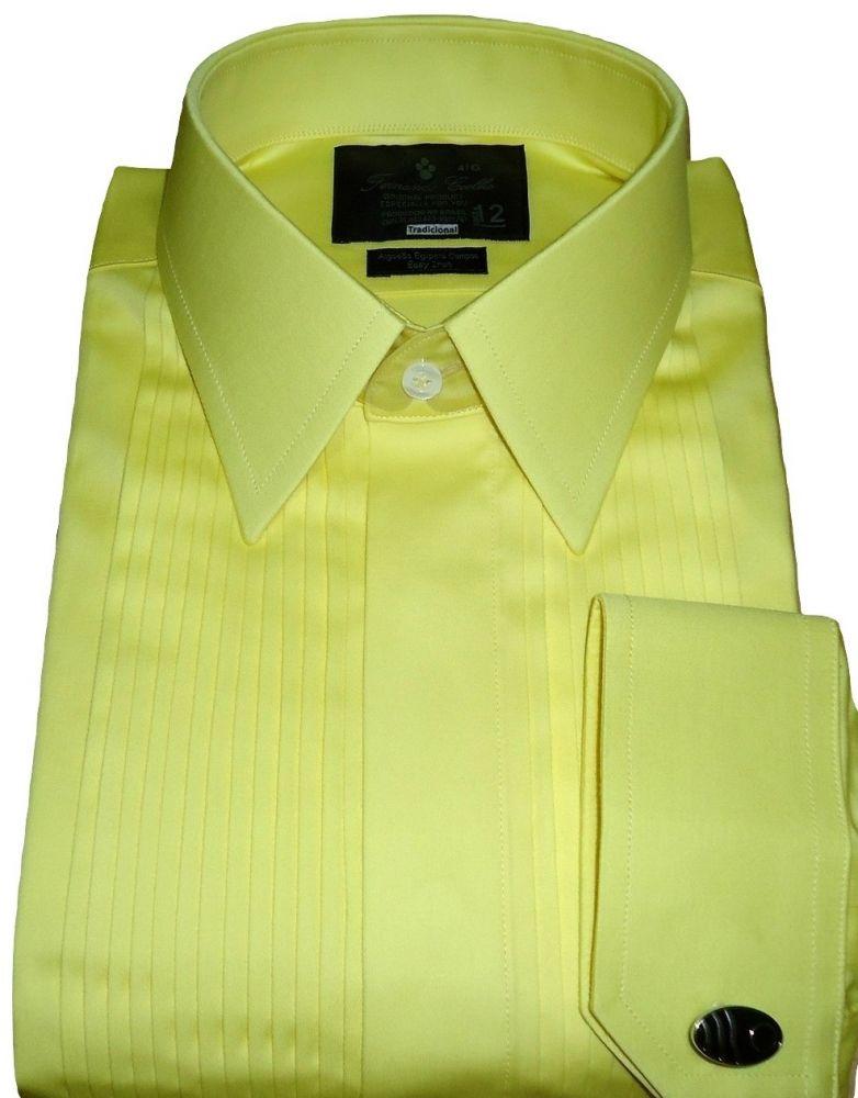Camisa Smoking Amarela Gola Dupla Inglesa Tradicional Algodão Egípcio Fio 80