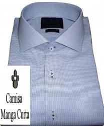 Camisa Manga Curta Azul Claro Maquinetada Gola Dupla Italiana Algodão Fio 80 Egípcio